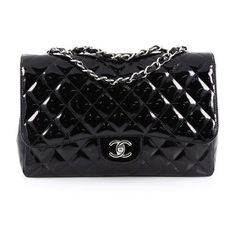 Pre-Owned Classic Single Flap Bag Quilted Patent Jumbo (17994525 PYG) ❤ liked on Polyvore featuring bags, handbags, black, chanel handbags, quilted purses, zipper purse, zip purse and quilted handbags
