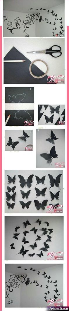 21 Extraordinary Smart DIY Paper Wall Decor That Will Color Your Life homesthetics design 18 20 Extraordinary Smart DIY Paper Wall Decor [Free Template Included] Butterfly Wall Decor, Diy Butterfly, Butterfly Bedroom, Butterfly Template, Paper Wall Decor, Diy Room Decor, Wall Decorations, Diy Paper, Paper Art