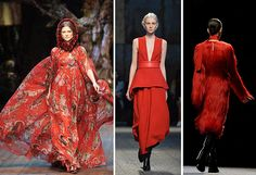 Credit: TIZIANA FABI/AFP Red No show is complete without a red exit, but this season many designers went further. At P...