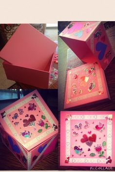 Plain pink keepsake box, made into a Valentine's Day treat (memory box; where I'll be stashing her treats and card), with some ribbon, stickers, paper hearts and modge podge!