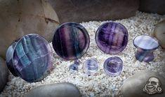 Bodyartforms- mayan flare stone plugs (rainbow fluorite) {8g-00g}