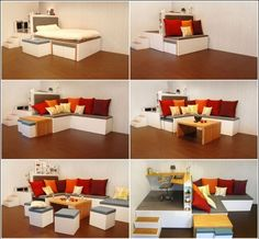 A Bedroom with Modular Furniture that Converts to a Living and Working Space