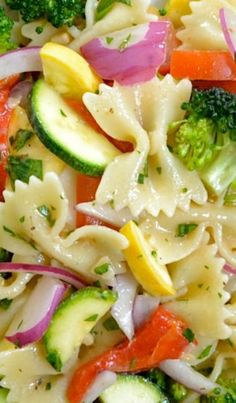 Summer Vegetable Pasta Salad BEST SALADS // Sounds refreshing. Never had raw squash and zucchini though...hmm