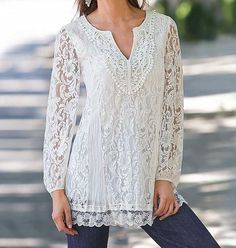 Together Lace Tunic (Holiday Top Fashion) Over 50 Womens Fashion, Fashion Over 50, Look Fashion, Spring Fashion, Mature Fashion, Fashion Details, Fashion Styles, Pretty Outfits, Beautiful Outfits