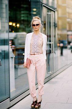 White cardigan, embellished shirt, pink trousers