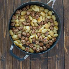 Made with just 4 ingredients in under 30 minutes, this One Pot Sausage Gnocchi is a simple, yet filling and tasty dish that whole family will enjoy! Andoille Sausage Recipes, Dog Food Recipes, One Pot, 4 Ingredients, Gnocchi, Tasty Dishes, Beans, Vegetables, Veggies