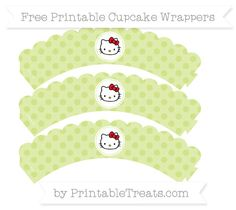 Free Pastel Lime Green Polka Dot  Hello Kitty Scalloped Cupcake Wrappers
