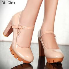 >> Click to Buy << Women Pumps Buckle Strap Platform Shoes Thick Heel High Heeled Shoes Ladies Mary Janes Dress Shoes Nude High Heels Zapatos Mujer #Affiliate