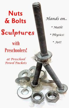 Nuts and Bolts Sculptures!  Super fun art activity that provides hands-on math and science play! Great for preschoolers and older kids...and their parents!