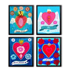 Set of 4 hearts prints - Fine Art Print, painting heart, mexican, bohemian, folk, funky, naive, mexico, tattoo.