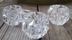 Set of 3)Tiffany & Co ROCK CUT CRYSTAL VOTIVE CANDLE HOLDERS #TiffanyCo #Abstract