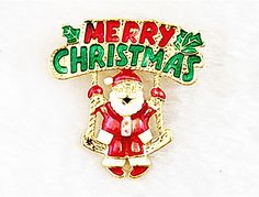 Free shipping !Beautiful Gold Plated Merry Christmas and Santa Claus Xmas Brooch Badge for Christmas day