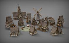 Medieval Village Props, Renan Longatti on ArtStation at https://www.artstation.com/artwork/KRPZG
