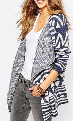 Fashionable Turn-Down Collar Geometric Pattern Long Sleeve Cardigan For Women