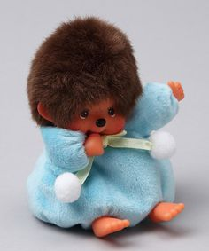 $13.99 I haven't seen a Monchhichi in years!  Still as cute as ever.  Take a look at this Blue Beanbag Monchhichi  by Monchhichi on #zulily today!