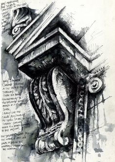 Ian Murphy Ornate Architecture, Fine Line Pen and water