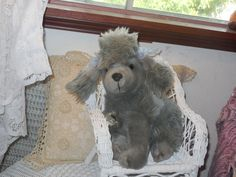 Fluffy Soft Sweet Gray Poodle Dog by Daysgonebytreasures on Etsy, $20.00