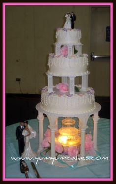 pretty pink water fountain wedding cake 27.JPG