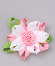 Take a look at this Pink & White Flower Clip by Sweet Treat Bows on #zulily today!