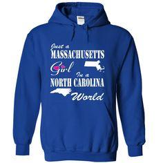 (Top 10 Tshirt) Massachusetts Girl in a North Carolina World at Sunday Tshirt Hoodies, Funny Tee Shirts