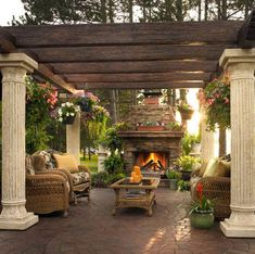 Landscaping And Outdoor Building , Backyard Tuscan Ideas : Backyard Tuscan Ideas With Pergola And Fireplace