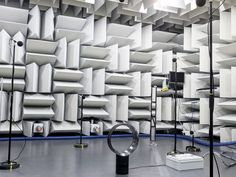 Dyson Made Its Fans 75 Percent Quieter by Gutting Them | Dyson engineers found that the first generation of fan wasn't as efficient as it could have been. Here, the fan is undergoing acoustic testing. | Credit: Image: Dyson | From Wired.com