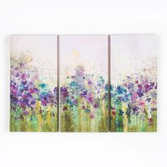 This stunning floral wall art piece will brighten up your walls, as guests admire its fine artistic beauty. The design itself features a set of three watercolour canvases, displaying a vibrant floral design.  	  	Dabs of purple, red and green create a gorgeous meadow landscape, a calming sight for any home. The Watercolour Meadow design can also be used in conjunction with our other watercolour wall art pieces. Size: Set of 3 30 x 60 cm