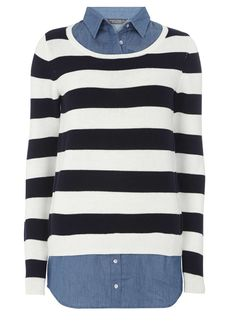 **Tall Stripe and Denim 2 in 1 Top - Dorothy Perkins