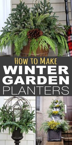 Garden Design Plans These easy planter tips and tricks will help you create winter containers that wow, without spending a lot of money or time. Outdoor Christmas Planters, Outside Christmas Decorations, Christmas Garden, Christmas Porch, Outdoor Planters, Garden Planters, Winter Christmas, Xmas, Christmas Brunch