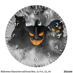 Halloween Characters and Icons Round Wall Clock
