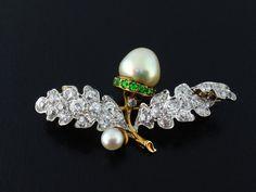 Antique 18K Platinum Diamond Natural GIA 8.10mm Pearl Green Garnet Acorn Brooch #Kohn