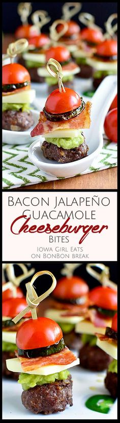 Bacon Jalapeno Guacamole Cheeseburger Bites are indulgent little bites of goodness just perfect for your next party! Stuffed Jalapenos With Bacon, Best Gluten Free Recipes, Snack Recipes, Snacks, Party Recipes, Catering Menu, Dinner Salads, Recipe For Mom, Perfect Food