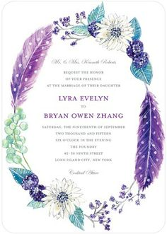 Wreathed in Whimsy - Signature White Textured Wedding Invitations - Lana Frankel - Grape - Purple : Front