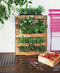 DIY hacer un huerto vertical con palé - http://decoracion2.com/diy-hacer-un-huerto-vertical-con-pale/62074/ #Decoración, #IdeasParaDecorar, #Jardín