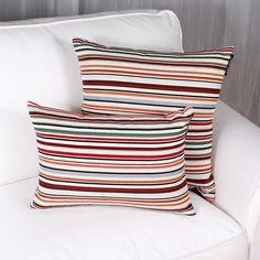 ALICANTE cushion is made of Spanish brocade. Colorful stripes on an off white ground. Available in size (comes with a polyester insert). Price is for one cushion. Alicante, Stripes, Throw Pillows, Home, Toss Pillows, Decorative Pillows, Decor Pillows, Scatter Cushions, Haus