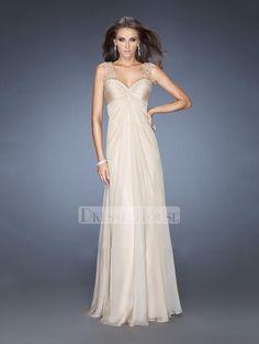 Charming Sweetheart Sheer Straps Sweetheart Cutout Open Back Chiffon Prom Dress PD11728
