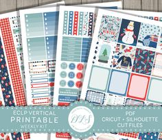 Winter Planner Kit, ECLP Winter Stickers, Vertical Stickers, Winter Stickers, Erin Condren Stickers, Weekly Planner Kit, Printable Stickers, Cut Files, VS122
