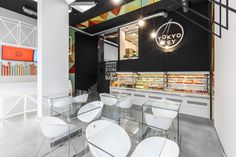 """""""As fans of Japanese healthy lifestyle we would like to offer You a new original approach to sushi."""" – Tokyo TeyArchitects of mode:lina designed the very first sushi store located in the main shopping area of Poznań (PL). This formula of selling sushi h… Sushi Restaurants, Commercial Design, Commercial Interiors, Visual Merchandising, Sushi Store, Milk Shop, Bar Interior, Sushi Design, Cafe Restaurant"""