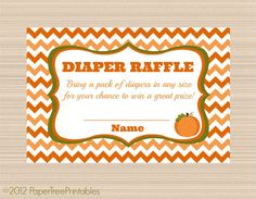 Pumpkin Baby Shower, Digital Diaper Raffle Tickets, Chevron Fall Collection on Etsy, $5.00