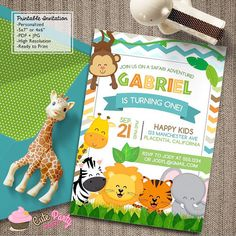 Safari Jungle Birthday Party Printable Invitations Cute Safari Animals - Printable DIY Invitation - Personalized Invite card DIY party printables will save you time and money while making your planning a snap! Safari Party, Jungle Party, Safari Theme, Jungle Theme, Safari Invitations, Printable Invitations, Birthday Party Invitations, Shower Invitations, Baby Shower Printables
