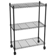 Wakrays 3Tier Unit Rolling Shelf Cart For Bathroom Kitchen with Wheels Chrome Black -- Learn more by visiting the image link.Note:It is affiliate link to Amazon.