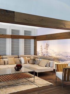 Spectacular luxury living in this 2016 fabulous, Winter Chalet with Fendi Outdoor. Capri Teak lounge chair, sectional sofa and coffee table is the best to have a nice cup of hot tea in your balcony #Luxury #Living. All available for purchase!