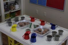 Planting our beautiful flowers in play dough | Teach Preschool
