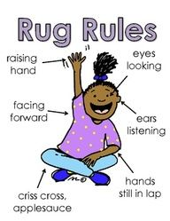 Free Rug Rules Poster - Need to implement raising hands at my school. Kids are constantly talking and yelling over other kids, teachers, and parents.