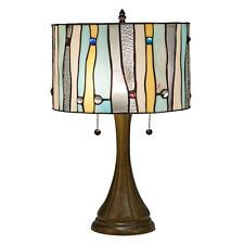 """Tiffany Style Blue Contemporary Table Lamp Handcrafted 16"""" Shade"""