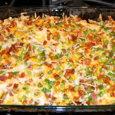 Loaded baked potato and chicken casserole:  Ingredients2lbs chicken breast8 potatoes1/3 cup Olive Oil1 1/2 tsp salt1 TBS fresh Ground Pepper1 TBS Paprika2 TBS Garlic Powder6 TBS Hot Sauce{Toppings}2 cups Shredded Cheese1 cup crumbled Bacon1 cup diced Green OnionInstructionsPreheat oven 500FIn a large bowl mix Olive Oil, Salt, Pepper, Paprika, Garlic Powder & Hot SauceCube the potatoes & add to the bowlCoat a 9x13 dish with cooking sprayAdd potatoes, allow for excess sauce in the bowlBake the…