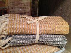 Waffle weave small towels wrapped up to go!