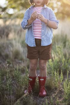 Little girl style, hunter boots, denim shirt, our happiness tour