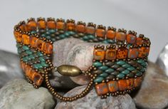 CzechMate Tile Beads ~ 6mm Picasso Opaque YellowSuperDuo Seed Beads ~ 2/5mm Picasso Opaque Olive ; 2/5mm Copper Picasso Turquoise Miyuki Rocaille Beads ~ 11/0 Metallic Matte Bronze Clasp ~ Antique Gold Magnetic