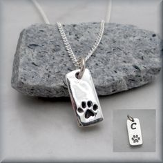Dog Paw Necklace Pet Jewelry Sterling Silver Pendant Charm Tag Paw Print Animal Pet Lover (SN646)